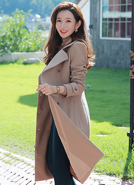 Feminine Silhouette Double-Breasted Trench Coat, Styleonme