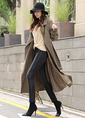 Luxury Pleated Trench Coat, Styleonme