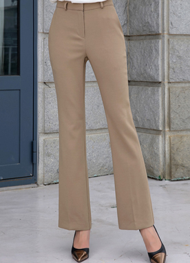 Basic Slim Fit Boot-Cut Slacks, Styleonme