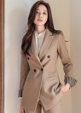 Classic Roll-Up Sleeve Double-Breasted Jacket, Styleonme