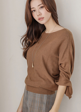 Pearl Accent Dolman Sleeve Knit Top, Styleonme