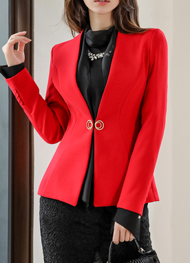 Gold Ring Closure Slim Collarless Jacket, Styleonme