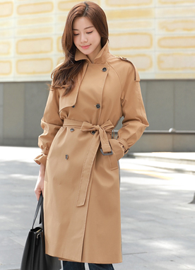Check Print Back Detail Trench Coat, Styleonme