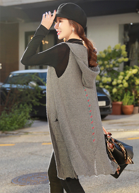 Flower Embroidered Long Knit Hooded Vest, Styleonme