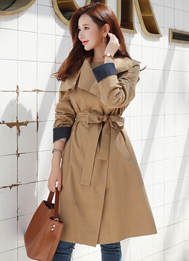 Color Cuff Waist Tie Zipper Trench Coat, Styleonme