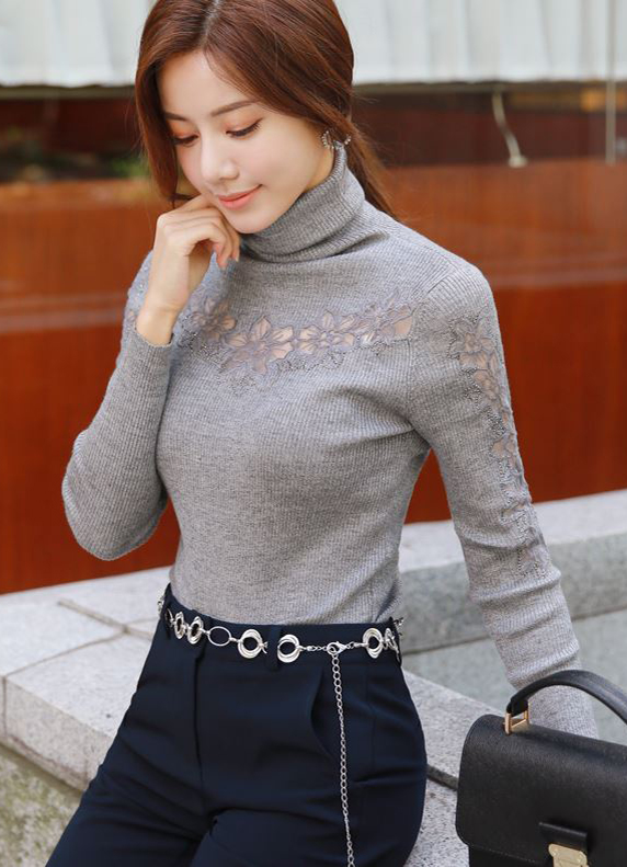 See-through Lace Turtleneck Ribbed Knit Tee, Styleonme