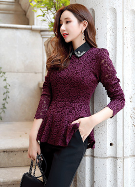 Jeweled Collar Set Lace Blouse, Styleonme