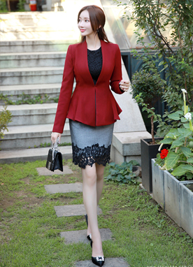 Collarless Peplum Jacket, Styleonme