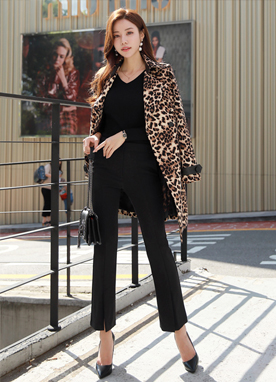 Leopard Print Double-Breasted Trench Coat, Styleonme