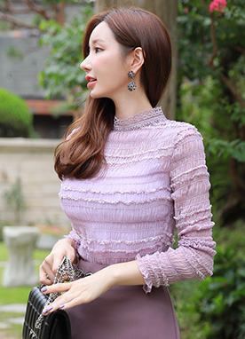 Lace Mock Neck See-through Blouse, Styleonme