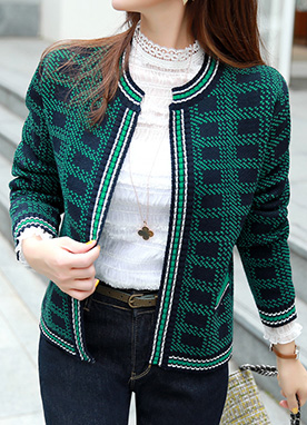 Mix Color Knit Cardigan, Styleonme