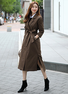 Double-Breasted Side Slit Long Trench Coat, Styleonme