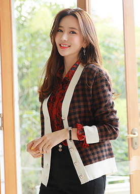 Gold Button Check Print Cardigan, Styleonme
