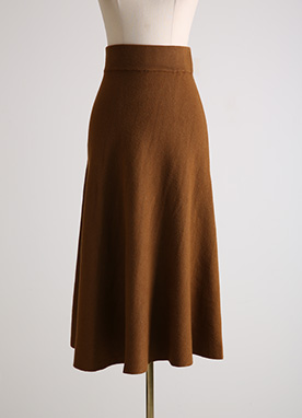 Wool-Blend Long Knit Skirt, Styleonme