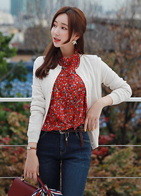 Mini Floral Print Frill Button Blouse, Styleonme