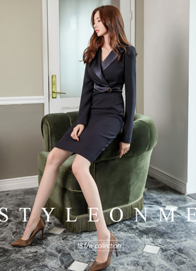 Luxury Suit Collar H-Line Dress, Styleonme