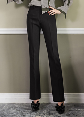 One Button Boot-Cut Slacks, Styleonme