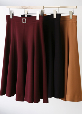 Squared Jewel Buckle Flared Skirt, Styleonme
