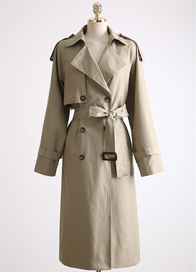 French Belted Double-Breasted Trench Coat, Styleonme