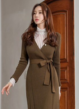 Slim Fit Wrap Long Knit Dress, Styleonme