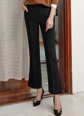 Side Slit Boot-Cut Slacks, Styleonme