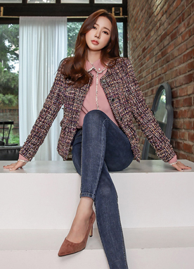 Round Button Metallic Tweed Jacket, Styleonme