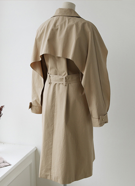 Unique Sleeve Detail Oversized Trench Coat, Styleonme