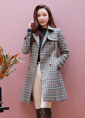 Check Print Color Button Double-Breasted Coat, Styleonme
