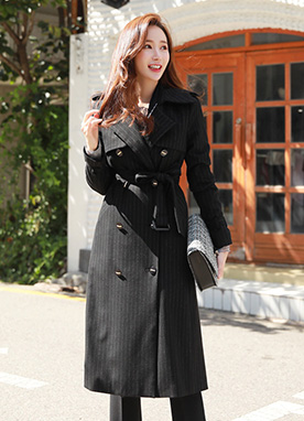 Pinstripe Double-Breasted Long Trench Coat, Styleonme