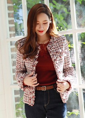 Color Mix Tweed Jacket, Styleonme