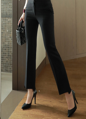 Long Leg Step Hem Boot-Cut Slacks, Styleonme