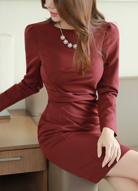 Shirred Slim Fit Dress, Styleonme