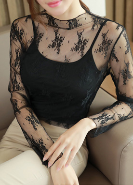 Feminine Lace See-through Blouse, Styleonme