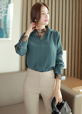 Cubic Accent Cuff Open Collar Blouse, Styleonme