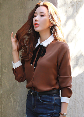 Velvet Ribbon Set Collared Blouse, Styleonme