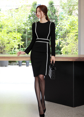 Elegant Line Slim Fit Dress, Styleonme