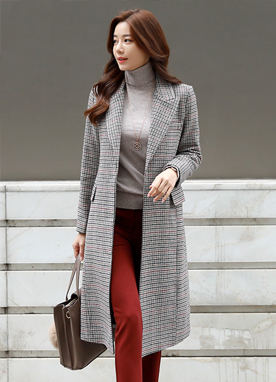 Check Print Belted Wool-Blend Long Coat, Styleonme