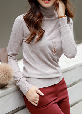 Soft Rayon Turtle Neck Knit Tee, Styleonme