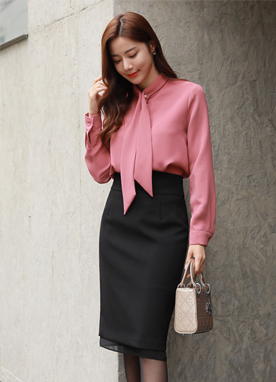 Pearl Accent Tie Blouse, Styleonme