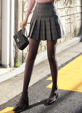 Check Print Pleated Skort, Styleonme