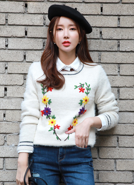Flower Embroidered Metallic Knit Sweater, Styleonme