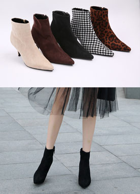 Luxury Suede Ankle High Heel Boots, Styleonme