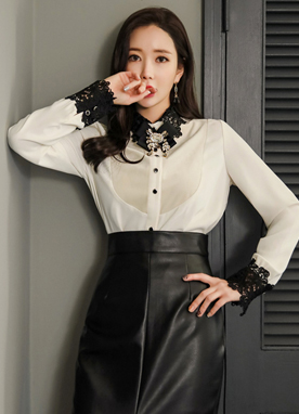 Velvet Lace Collar and Cuff Brooch Set Blouse, Styleonme