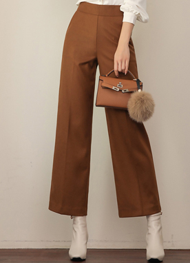 High-Waisted Side Zipper Straight Leg Slacks, Styleonme