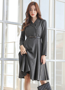 Luxury Belt Set Collared Dress, Styleonme