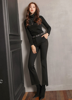 Asymmetrical Hem Boot-Cut Slacks, Styleonme