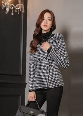 Off-Shoulder Double-Breasted Wool Jacket, Styleonme