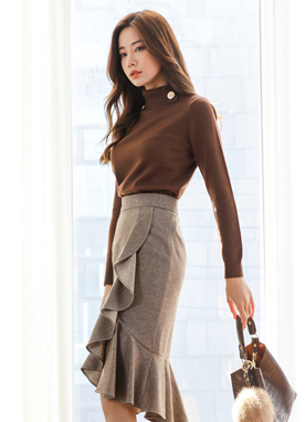 Gold Button Slit Turtleneck Knit Top, Styleonme