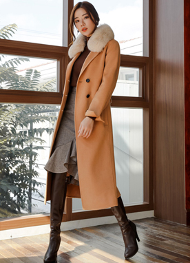 Wool Handmade Straight Fit Long Coat, Styleonme