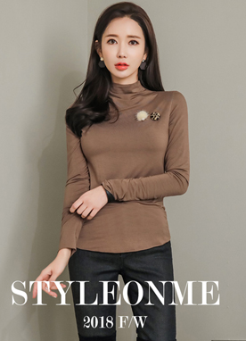 Mock Neck Modal T-shirt, Styleonme